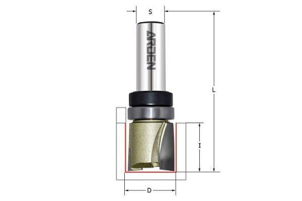 Фреза для выборки паза под петли D=19x19x60 S=12 ARDEN арт. 109208B