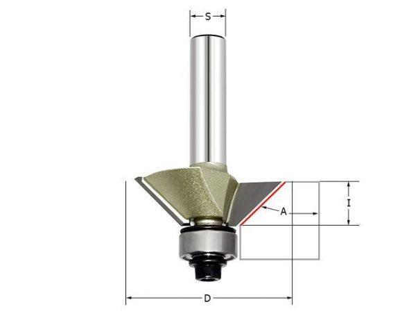Фреза для снятия свесов(пласт. подшип) Z=2 35.61x25.4x79 15гр. ARDEN 506211