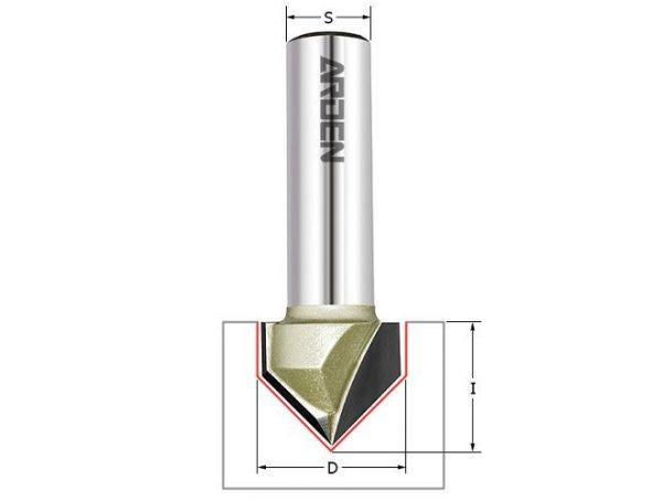 Фреза пазовая c углом 90гр. D=9.5x9.5x43 S=8 ARDEN 200811