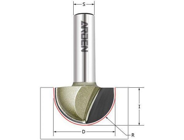 Фреза пазовая полукруг (чаша) Z=2 R=6 D=12x9.5x42 S=8 ARDEN 203814