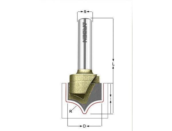 Фреза скругление R=1.59 D=3.175x5.8x50 S=8 ARDEN 225811