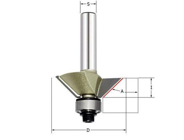 Фреза для снятия фаски 45гр. (нижний подшипник) Z=2 D=36.5x14.5x58 S=6 ARDEN 306631