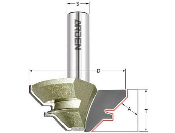 Фреза угловое сращивание 45° (15-28.5мм) Z=2 D=70x35x74 S=12 ARDEN 603235