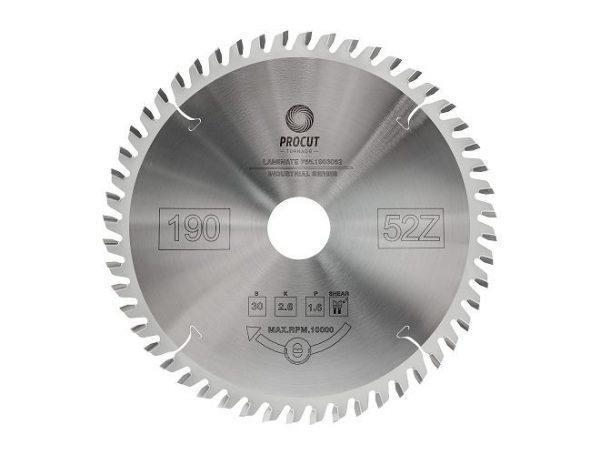 Пила дисковая для ламината, МДФ 190x30x2.6/1.6 Z=52 TFZ PROCUT 755.1903052