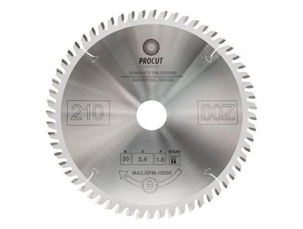 Пила дисковая для ламината, МДФ 210x30x2.4/1.6 Z=60 TFZ PROCUT 755.2103060
