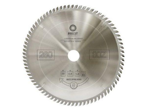 Пила дисковая для ламината, МДФ 260x30x2.4/1.6 Z=80 PROCUT 755.2603080F