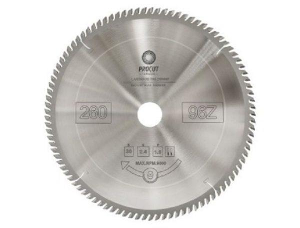 Пила дисковая для ламината, МДФ 260x30x2.4/1.6 Z=96 PROCUT 755.2603096F