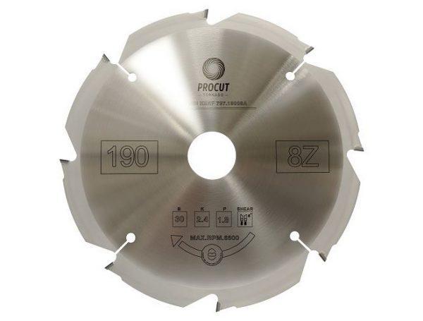 Пила алмазная по фиброцементу и гипсокартону с алмазными PCD зубьями  190x30x2.4/1.8 Z=8 PROCUT