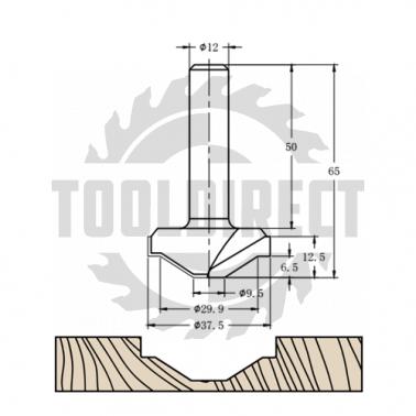 Фреза алмазная филёночная TD-173 D=37x12.5x65 S=12 Rotis 173712.01