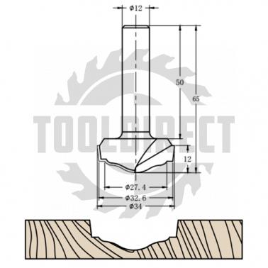 Фреза алмазная филёночная TD-173 D=34x12x65 S=12 Rotis 1633512.01