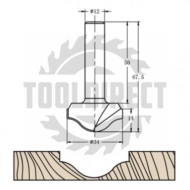 Фреза алмазная филёночная TD-041.34 D=34x14x67.5 S=12 Rotis 413412.02