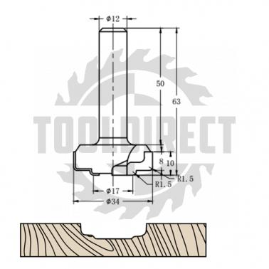 Фреза алмазная филёночная TD-081 D=34x10x63 S=12 Rotis 813412.01