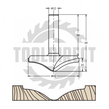Фреза алмазная филёночная TD-062 D=62x16x69 S=12 Rotis 626212.01