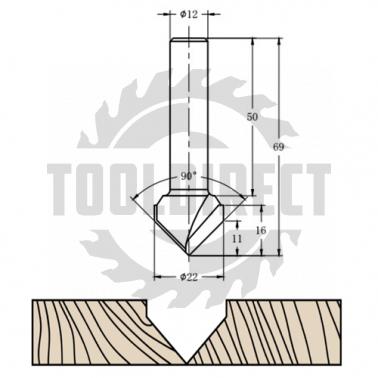 Фреза алмазная филёночная V образная TD-031  90° D=22x16x69 S=12 Rotis 312212.01