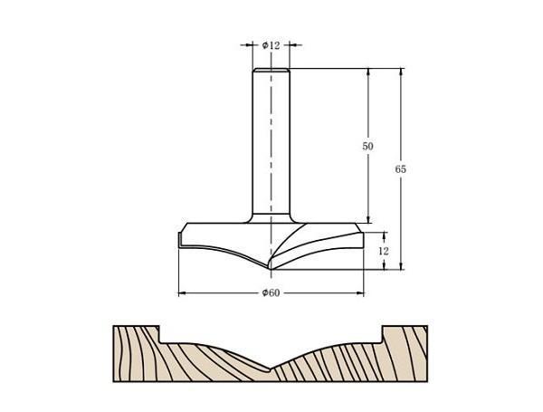 Фреза алмазная филёночная TD-101 D=60x12x65 S=12 Rotis 1016012.02
