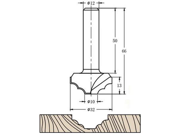 Фреза алмазная филёночная TD-111 D=32x13x66 S=12 Rotis 1113212.01