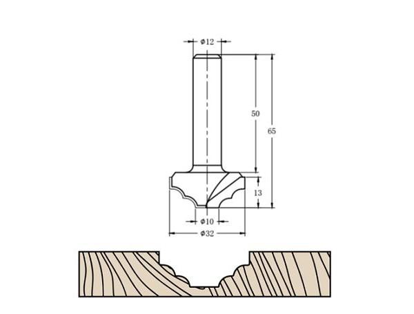 Фреза алмазная филёночная TD-112 D=32x13x65 S=12 Rotis 1123212.01