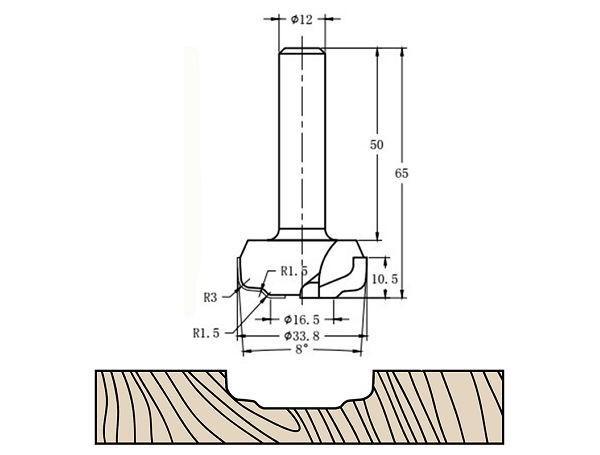 Фреза алмазная филёночная TD-082 D=33.8x10.5x65 S=12 Rotis 1213312.01