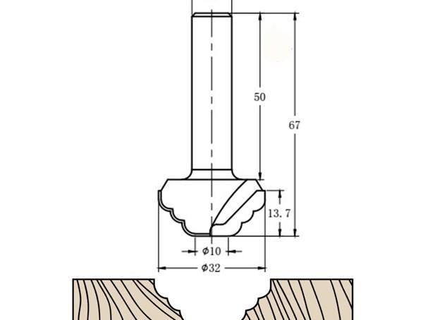 Фреза алмазная филёночная TD-131 D=32x13.7x67 S=12 Rotis 1313212.01