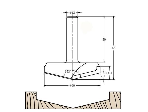 Фреза алмазная филёночная V образная TD-151 153° D=60x14.1x68 S=12 Rotis 1516012.01