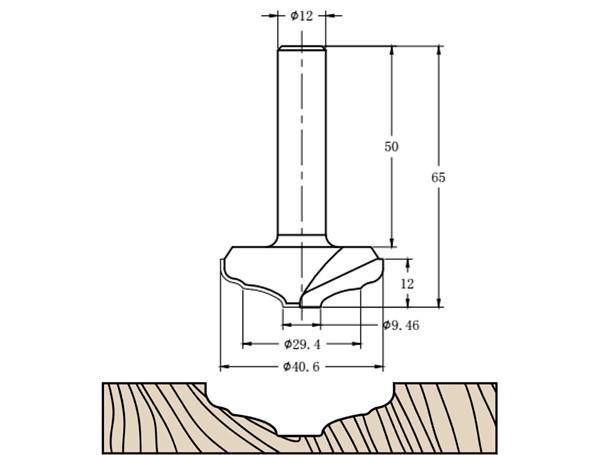 Фреза алмазная филёночная TD-161 D=40x12x65 S=12 Rotis 1614012.01