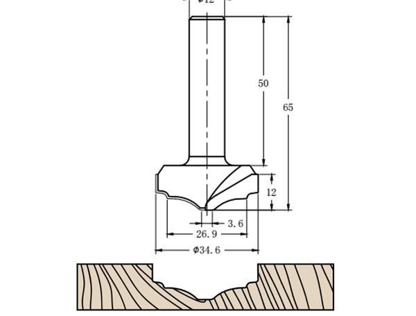 Фреза алмазная филёночная TD-162 D=35x12x65 S=12 Rotis 1623512.01
