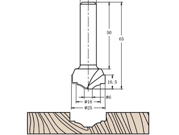 Фреза алмазная филёночная TD-201 D=25x10.5x65 S=12 Rotis 2012512.01