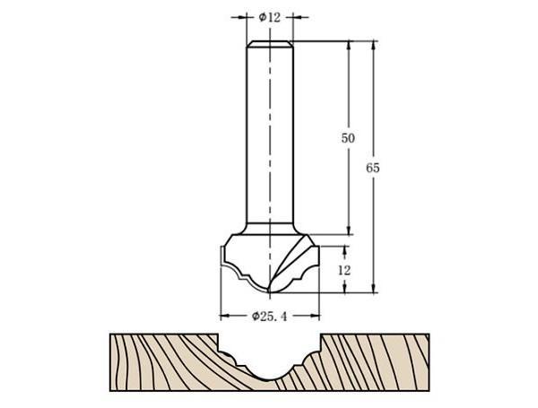 Фреза алмазная филёночная TD-041 D=25x12x65 S=12 Rotis 412512.01