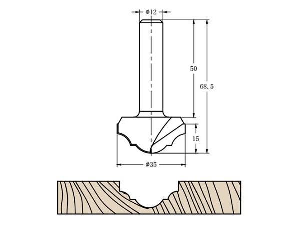 Фреза алмазная филёночная TD-041.35 D=35x15x68.5 S=12 Rotis 413512.01