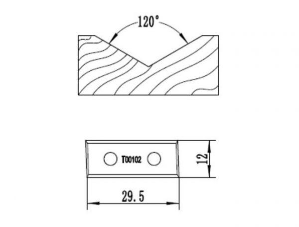 Нож V образный 120° для фрезы 1461201412 Rotis 744.T00102