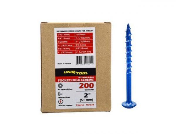 "Саморезы Blue-coating 2""(синее покрытие)(50мм) шаг 3мм,упак. 200шт. Uniqtool UTS-XML-B-200"